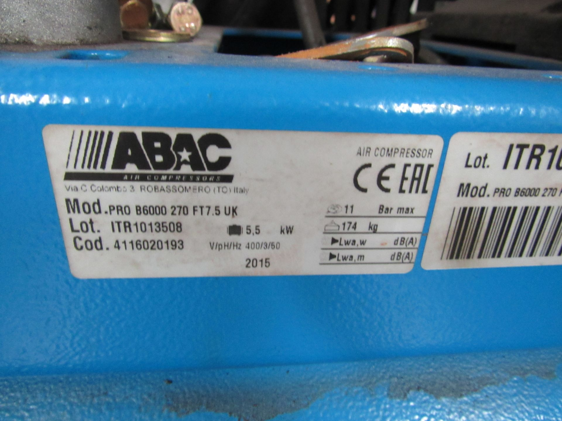 Lot 48 - ABAC 270, 7.5HP Receiver Mounted Compressor, 2015 (Spares or Repairs) (Located at Unit 11)