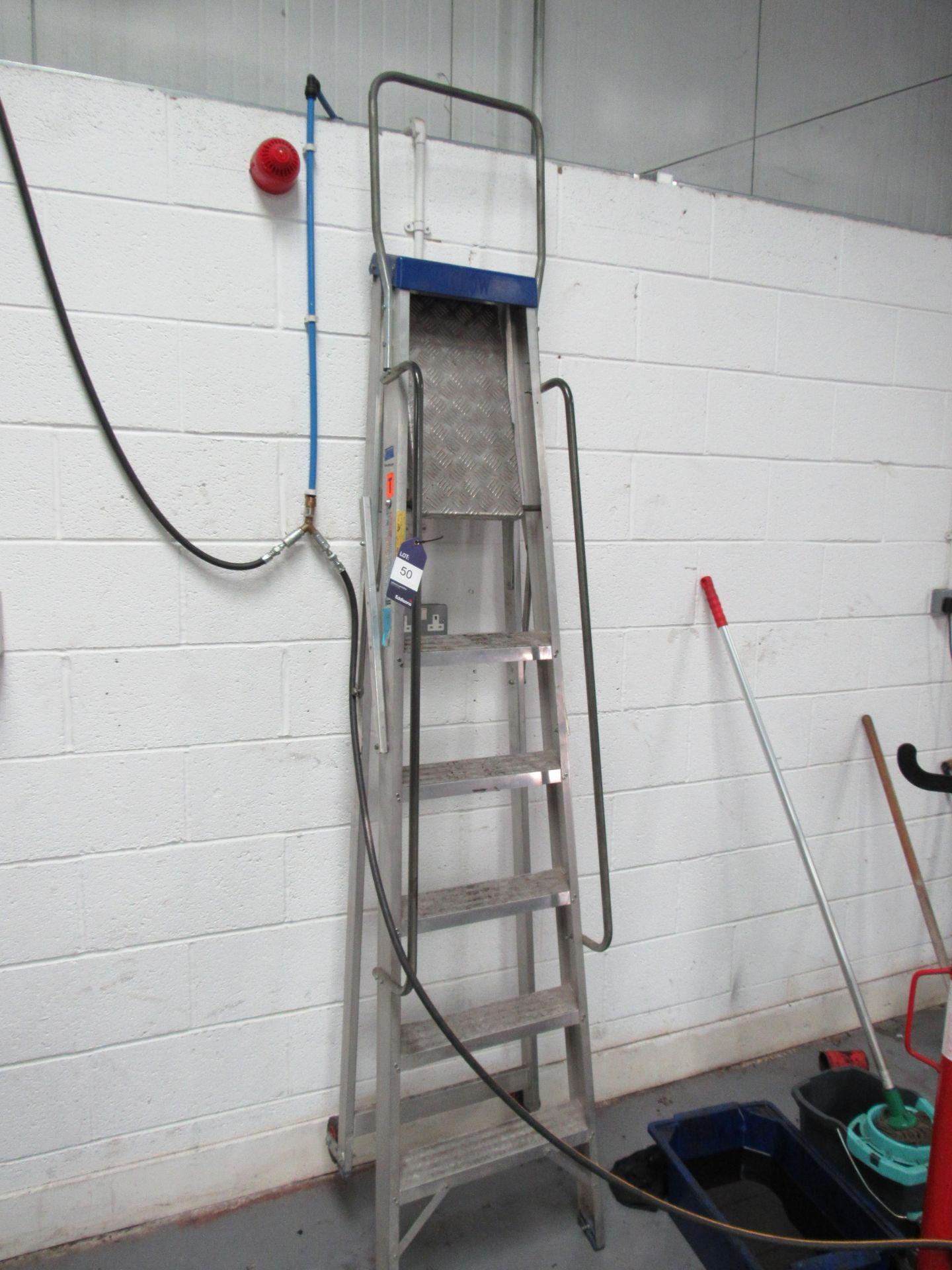 Lot 50 - Clow 5 Tread Plus Platform Aluminium Ladder (Located at Unit 11)