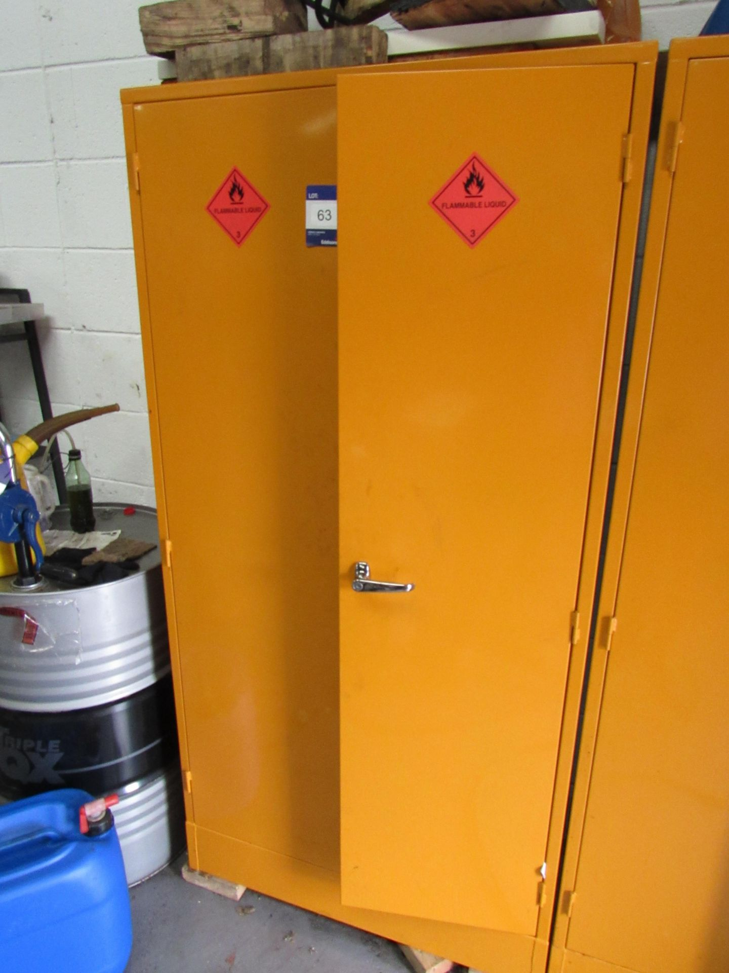 Lot 63 - Steel Flammables Cabinet and Contents (Located at Unit 11)