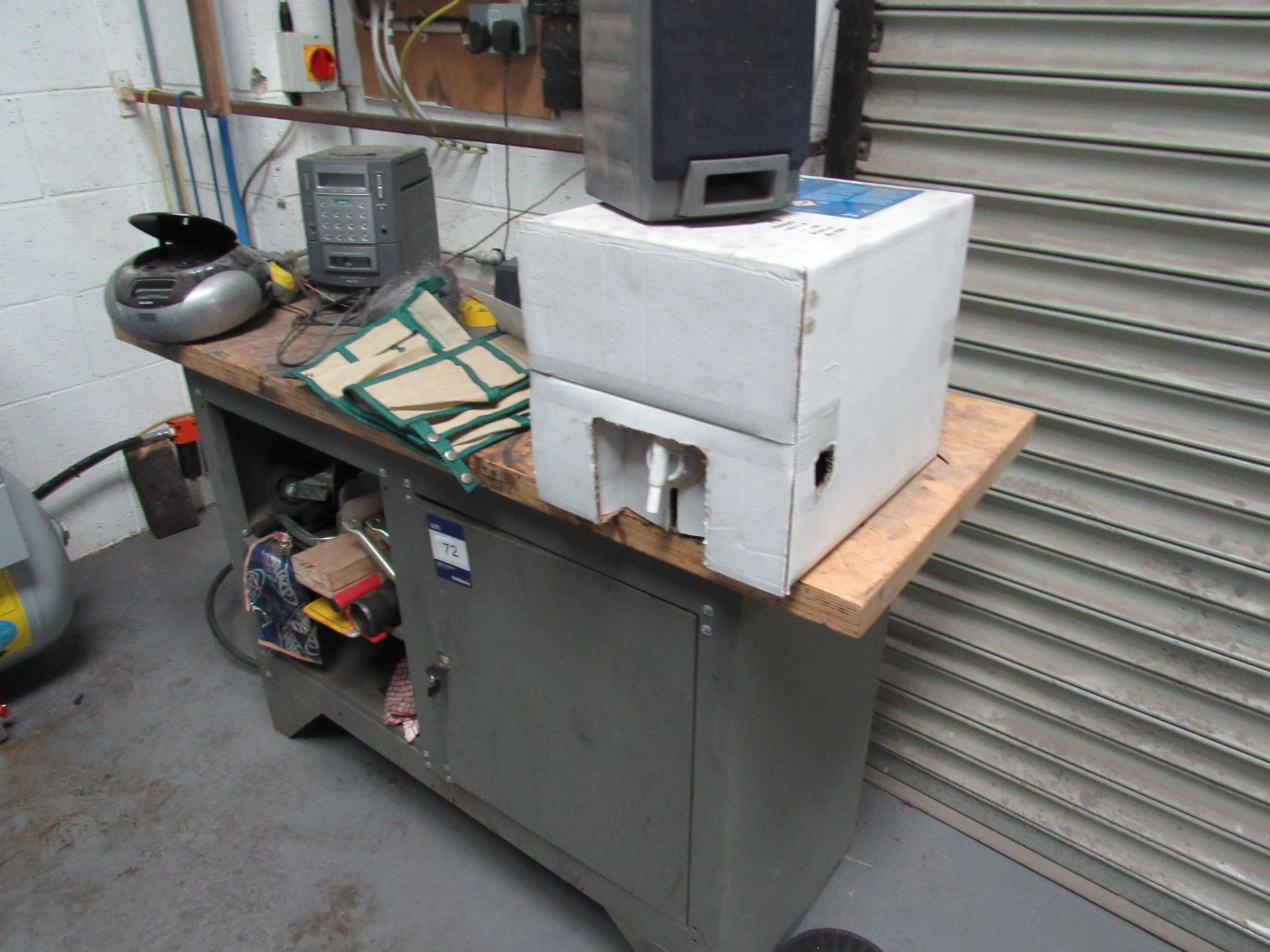 Lot 72 - Steel Workshop Cabinet with Wooden Top (Located at Unit 11)