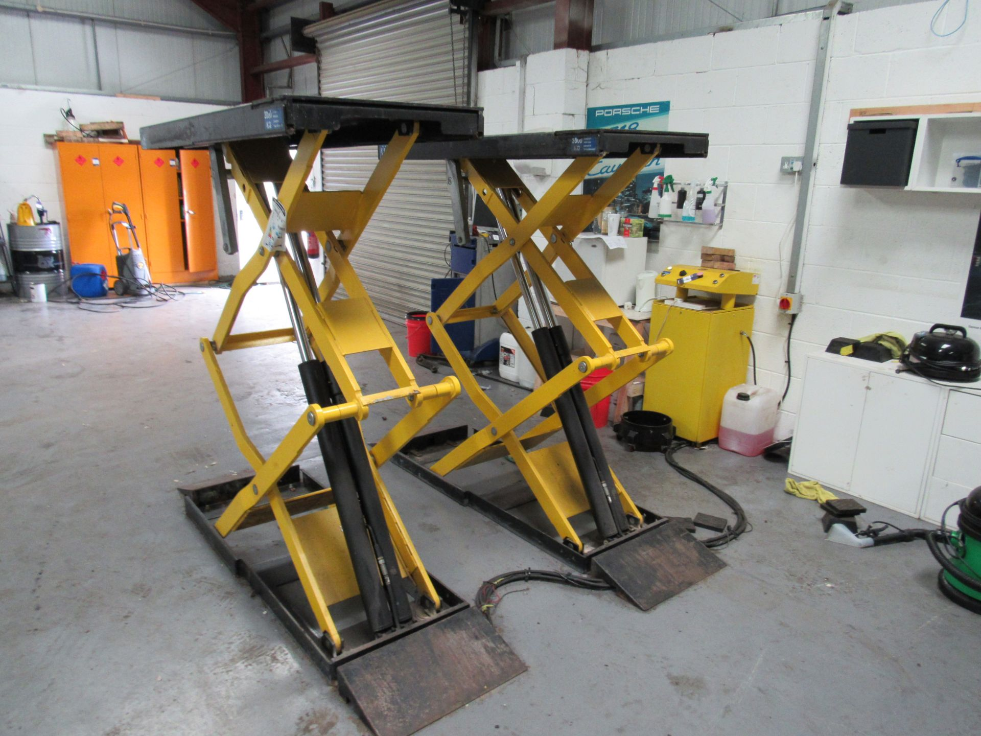 Lot 44 - Rotary Porsche 3000kg Hydraulic Scissor Lift, Serial Number 5405274 (Located at Unit 11)