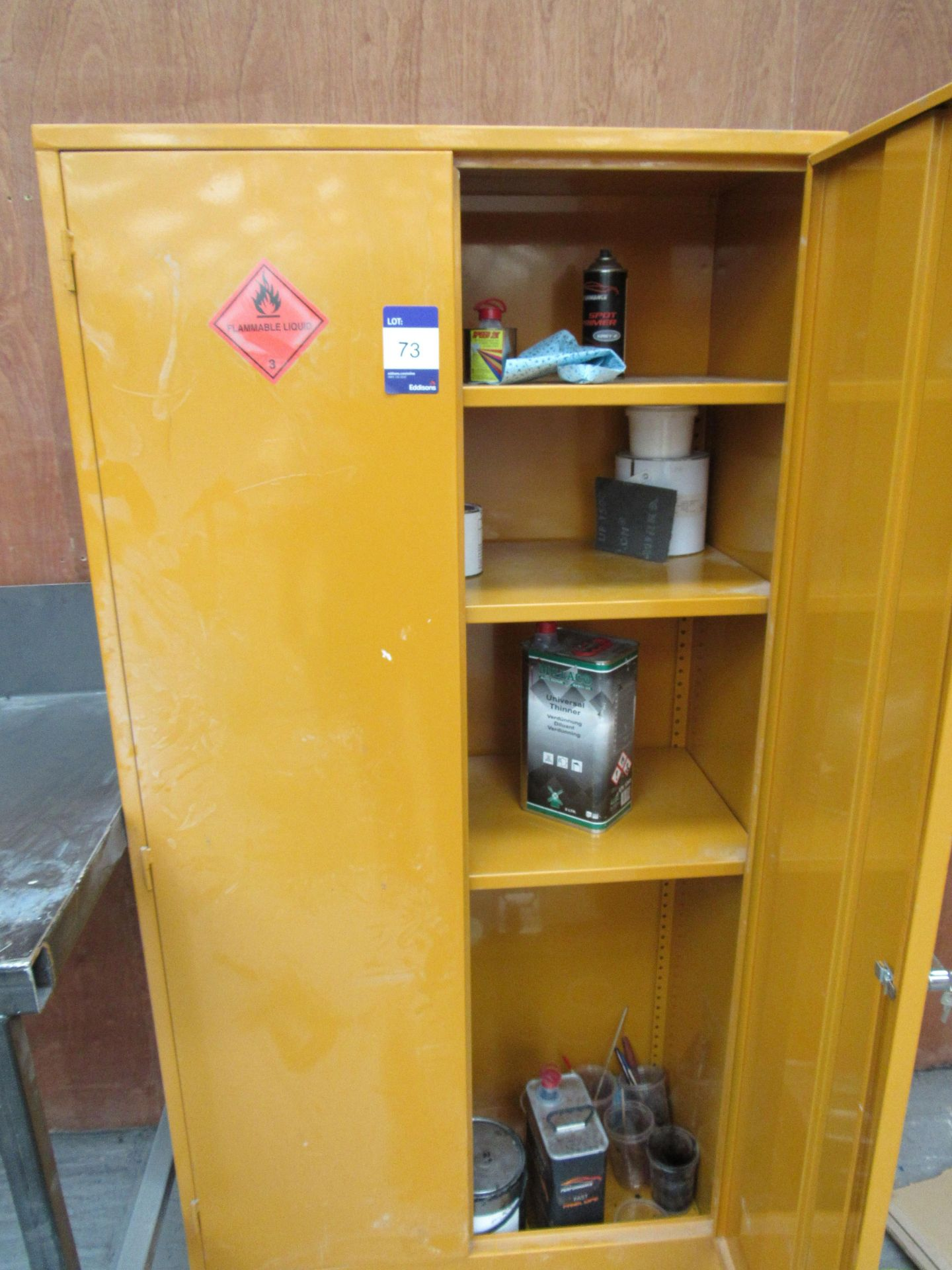 Lot 73 - Steel Flammables Cabinet and Contents (Located at Unit 11)