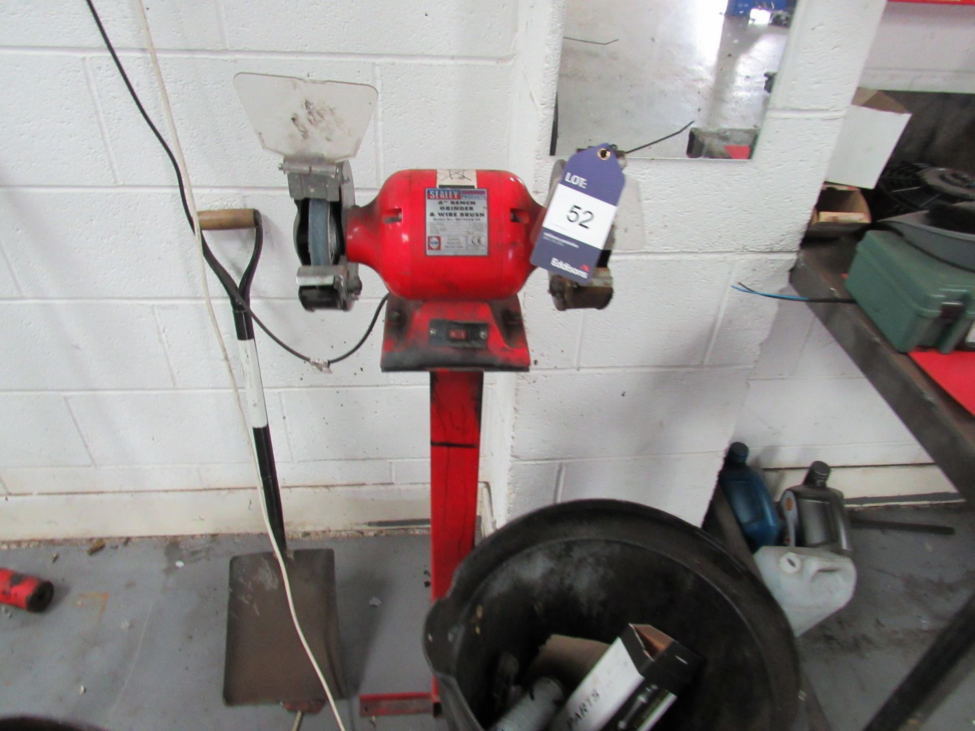 """Lot 52 - Sealey 6"""" Bench Grinder and Wire Brush (Located at Unit 11)"""