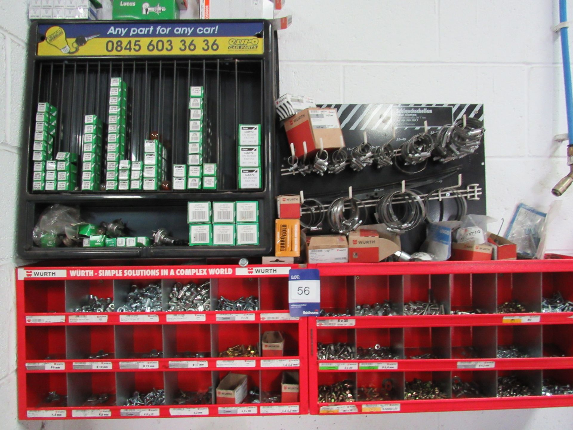 Lot 56 - Quantity Various Fixings to Rack (Located at Unit 11)