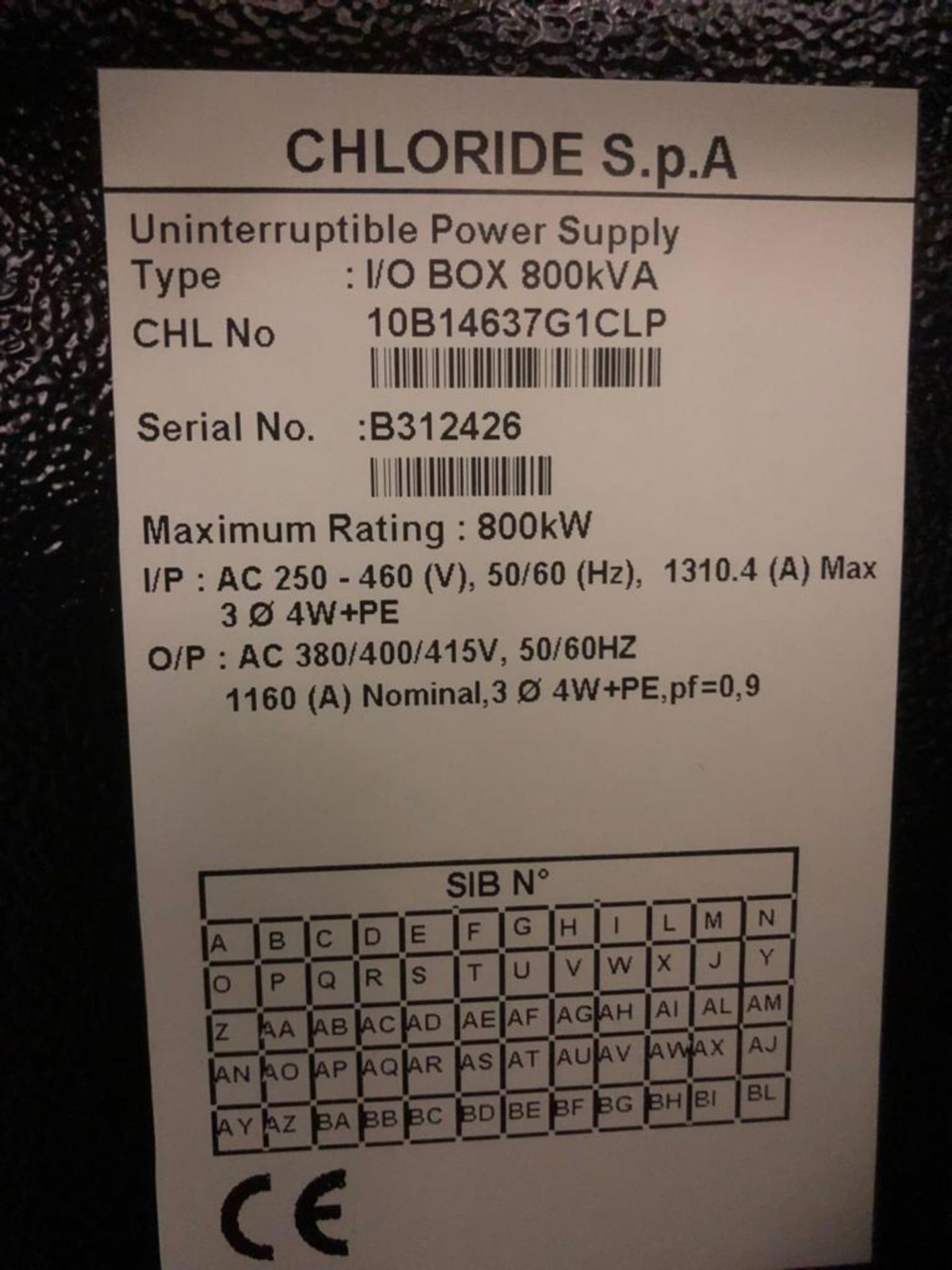 Lot 1 - Chloride Trinergy Type I/OBOX 200 KVA Uninterruptable Power Supply