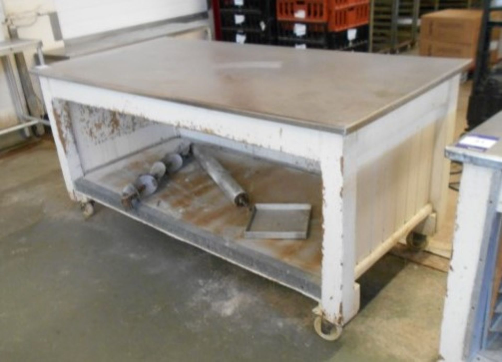 Lot 31 - 2 Mobile Timber Framed Work Stations with Stainles
