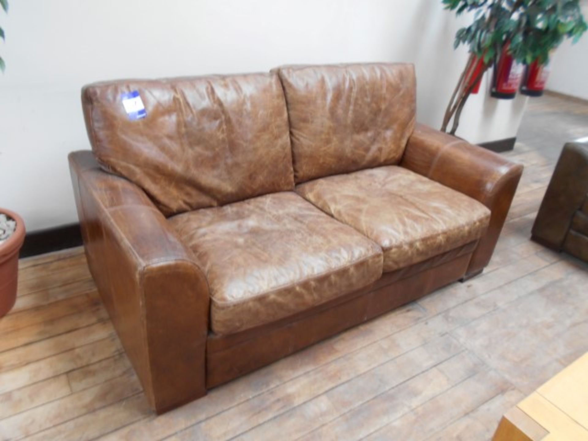 Lot 57 - 2 Seater Distressed Leather Effect Sofa