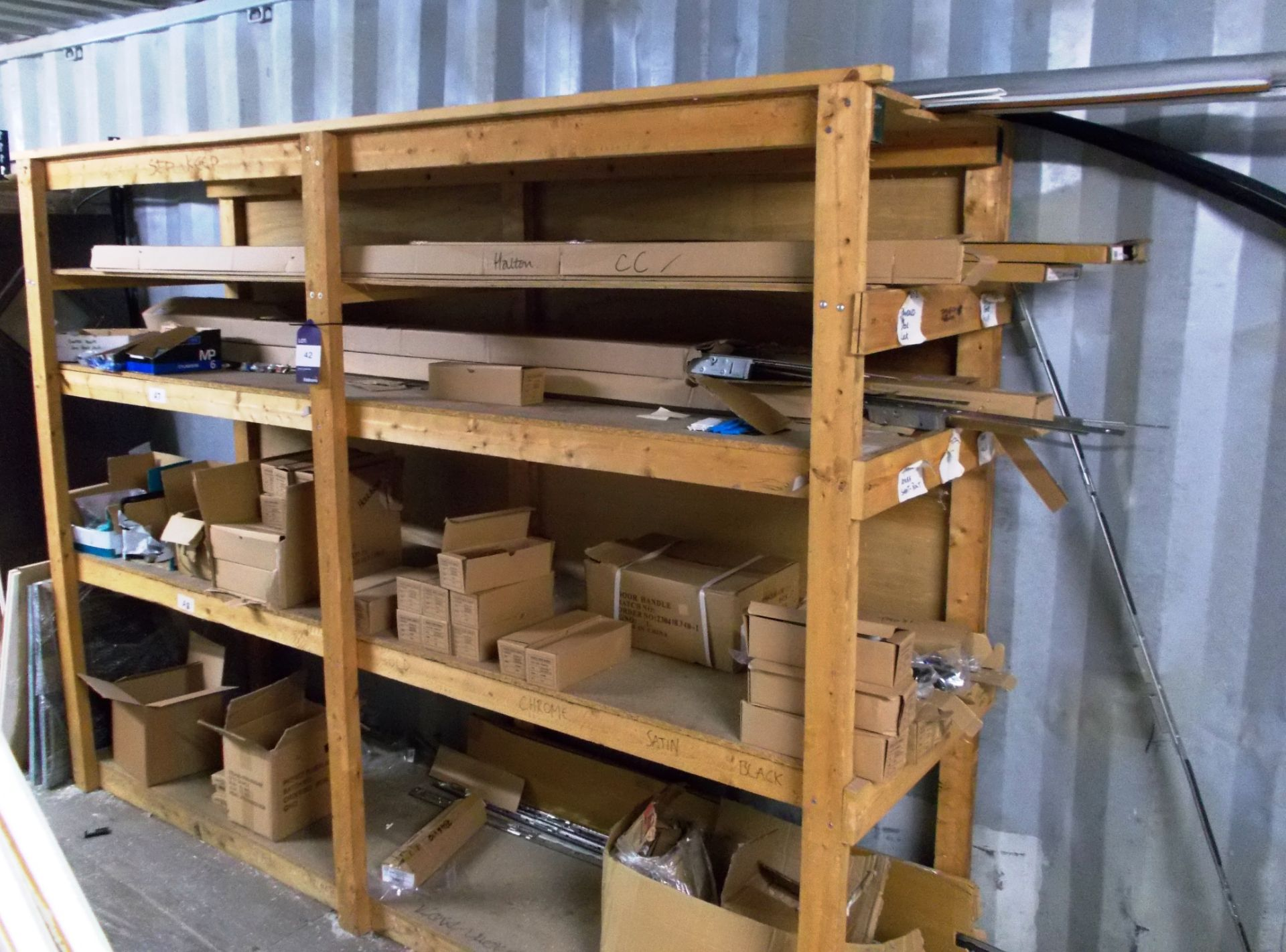 Lot 42 - Contents to rack to include various handles, locking mechanisms