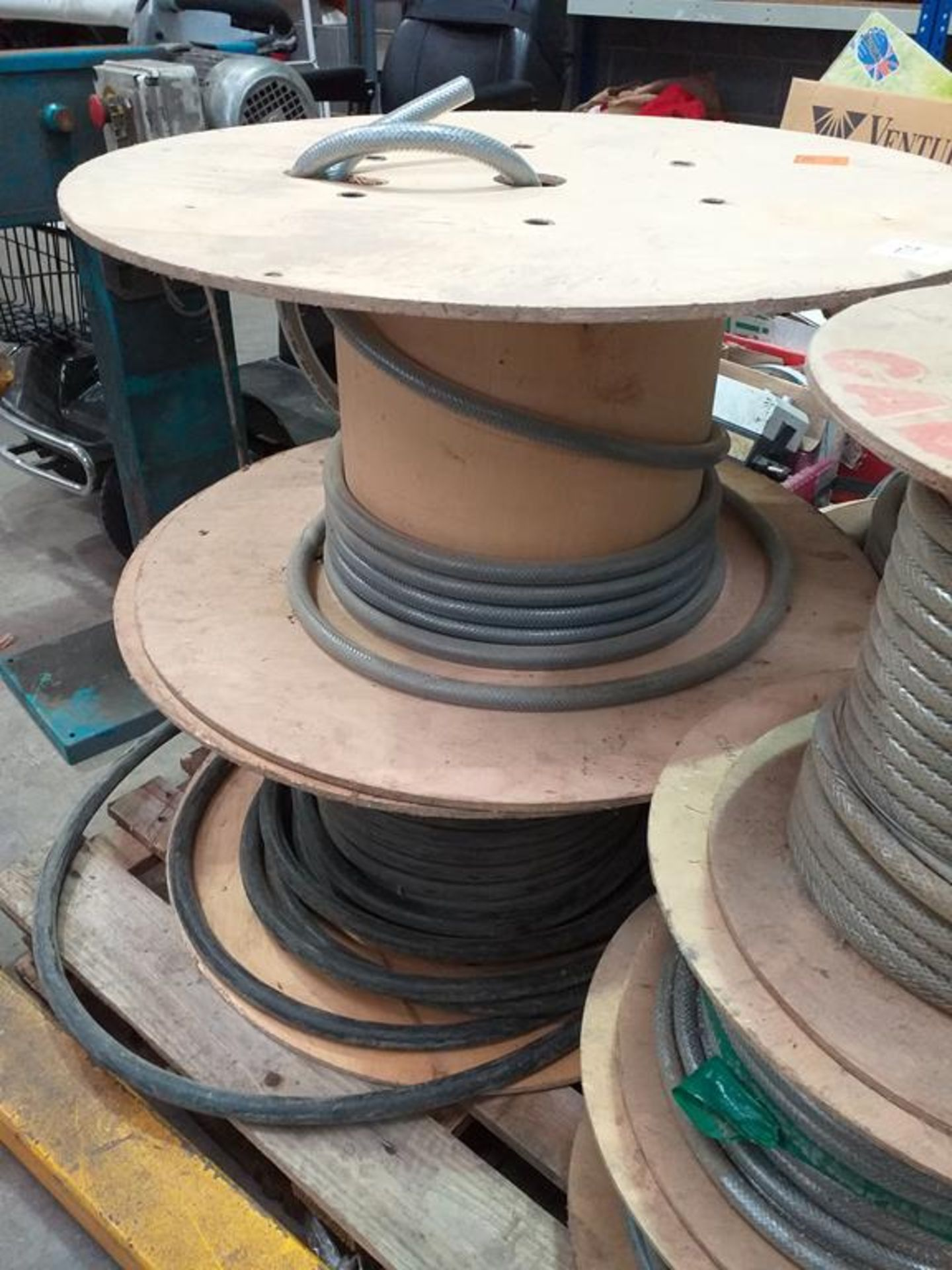 Lot 174 - A Part Roll of Braided Multi-Core Wire and a Part Roll of Armoured Cable