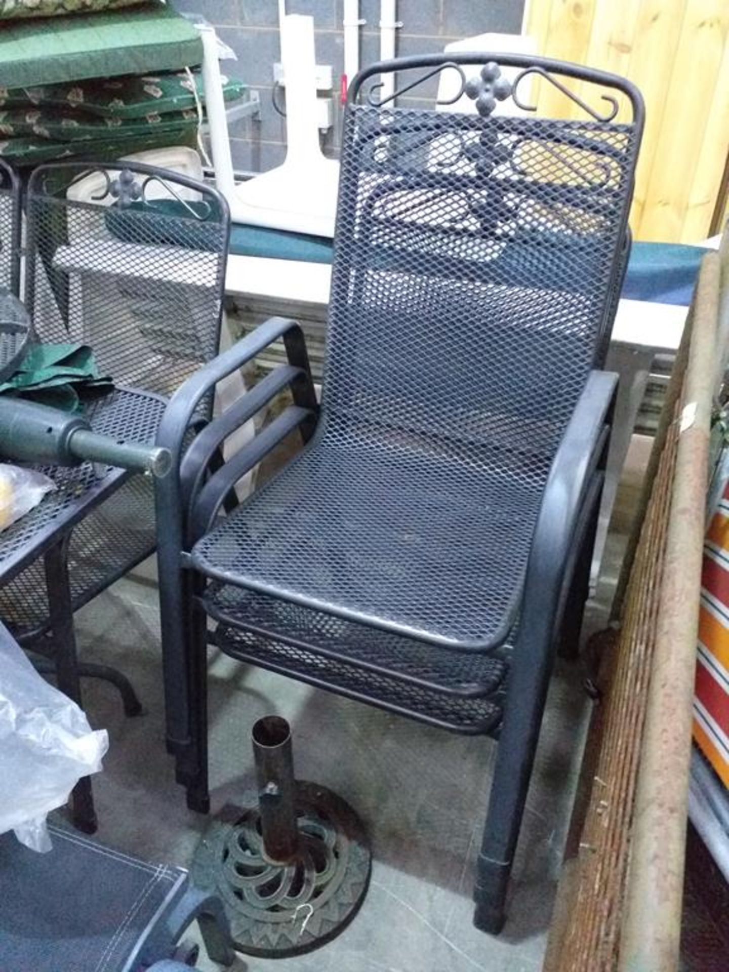 Lot 298 - Metal Garden Tables, a Twin Swing Chair and Chairs