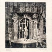 """Herbert Lehmann (Dresden 1890 - 1946 München): """"Venedig"""". 1922.Radierung auf Bütten. In Blei"""
