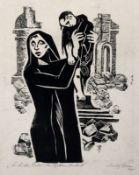 """Rudolf Krüger: """"Die Mütter Dresdens den Müttern der Welt"""". 1960.Holzschnitt auf Velin. In Blei"""