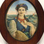 """Deutscher Künstler: Allegorie """"Der Sommer"""", Lithografie / Chromlithografie, Biedermeier um 1830,"""