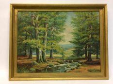 A. Matthes: Buchen am Bach / Partie im Gebirge, Öl auf Hartfaser, im goldenen Rahmen, um 1950 sehr