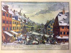 """Johann Adam Delsenbach: """"Die äussere Laufer-Gasse in Nürnberg, gegen das Thor hinaus."""" 1725."""