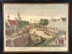 """Georg Balthasar Probst: """"Prospect der Schleuse zu Delftshaven"""". Kupferstich, um 1770.""""`t Gezigt"""