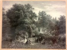 "Lithografie A. Lüttmann nach Carl Jungheim: ""Der Jacobi'sche Garten in Düsseldorf"". 1856.Unter der"