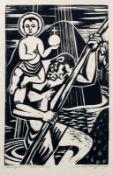 """Rudolf Krüger: """"Christophorus"""". 1959.Holzschnitt auf Velin. In Blei unterhalb der Darstellung rechts"""
