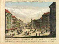 """Graben in Wien: """"Prospect der berühmten Heiligen Dreyfaltigkeits Säule auf dem Graben in Wienn""""."""