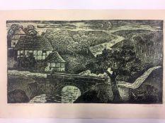 """Rudolf Krüger: """"Norddeutsche Landschaft"""". 1964.Linolschnitt in drei Farben auf Velin. In Blei"""