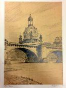 "Fritz Weber: ""Dresden"". Bleistift Zeichnung. 1922.Unten links betitelt ""Dresden"" sowie rechts"