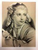 """Philippine Guth: """"Junge Frau"""". Pastell auf Karton. 1861.Links unten von Künstlerhand in Tusche"""