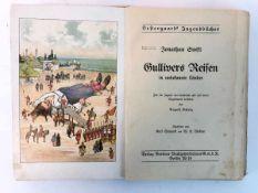 """Jonathan Swift: """"Gullivers Reisen in unbekannte Länder"""". Farbig illustriert, um 1900, sehr gut.Aus"""