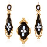 AN ANTIQUE OPAL AND ONYX EARRING AND BROOCH SUITE in high carat yellow gold, comprising of