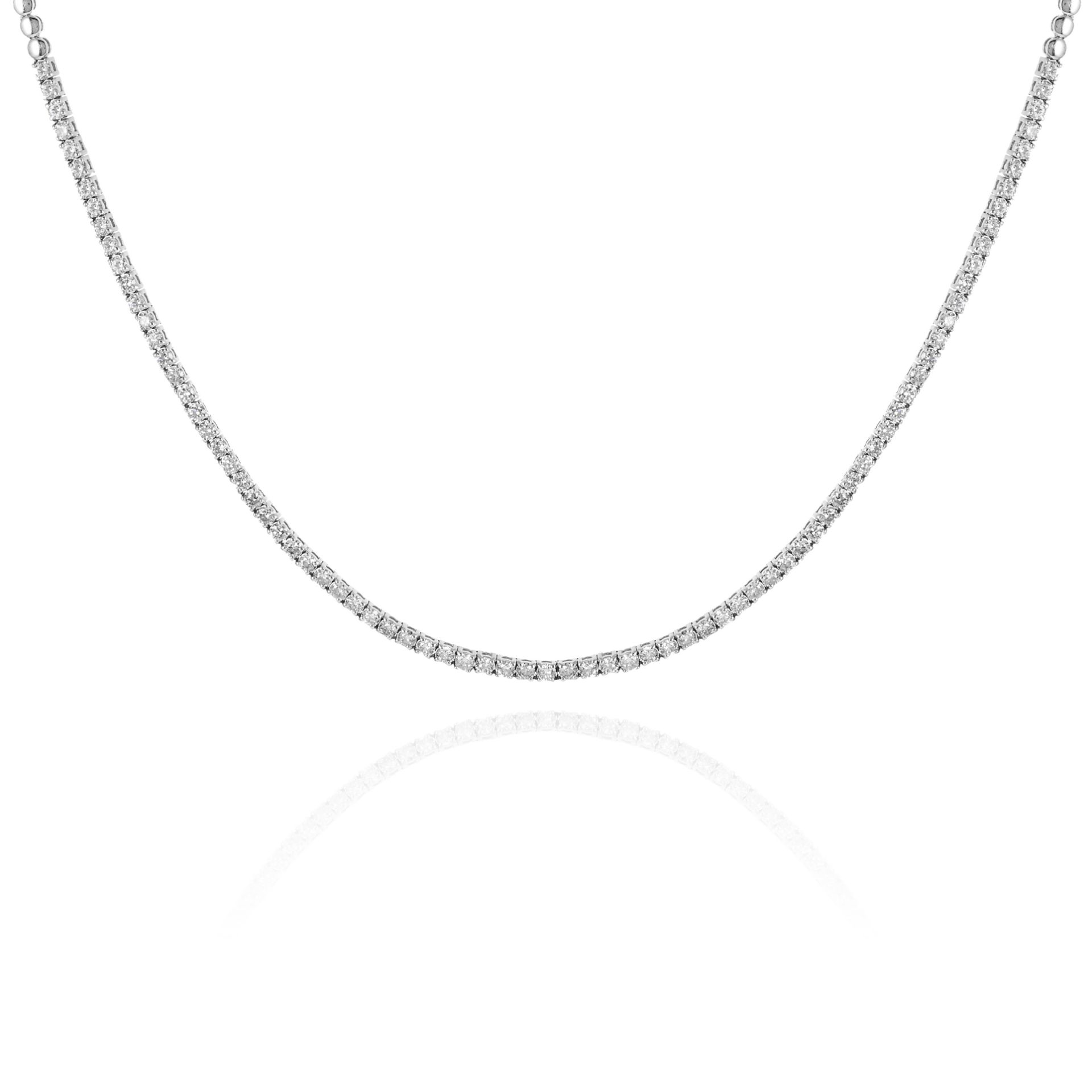 A 3.80 CARAT DIAMOND LINE NECKLACE in 18ct white gold, set with round cut diamonds totalling