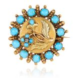 AN ANTIQUE TURQUOISE AND DIAMOND MOURNING BROOCH in yellow gold, in circular form, jewelled with