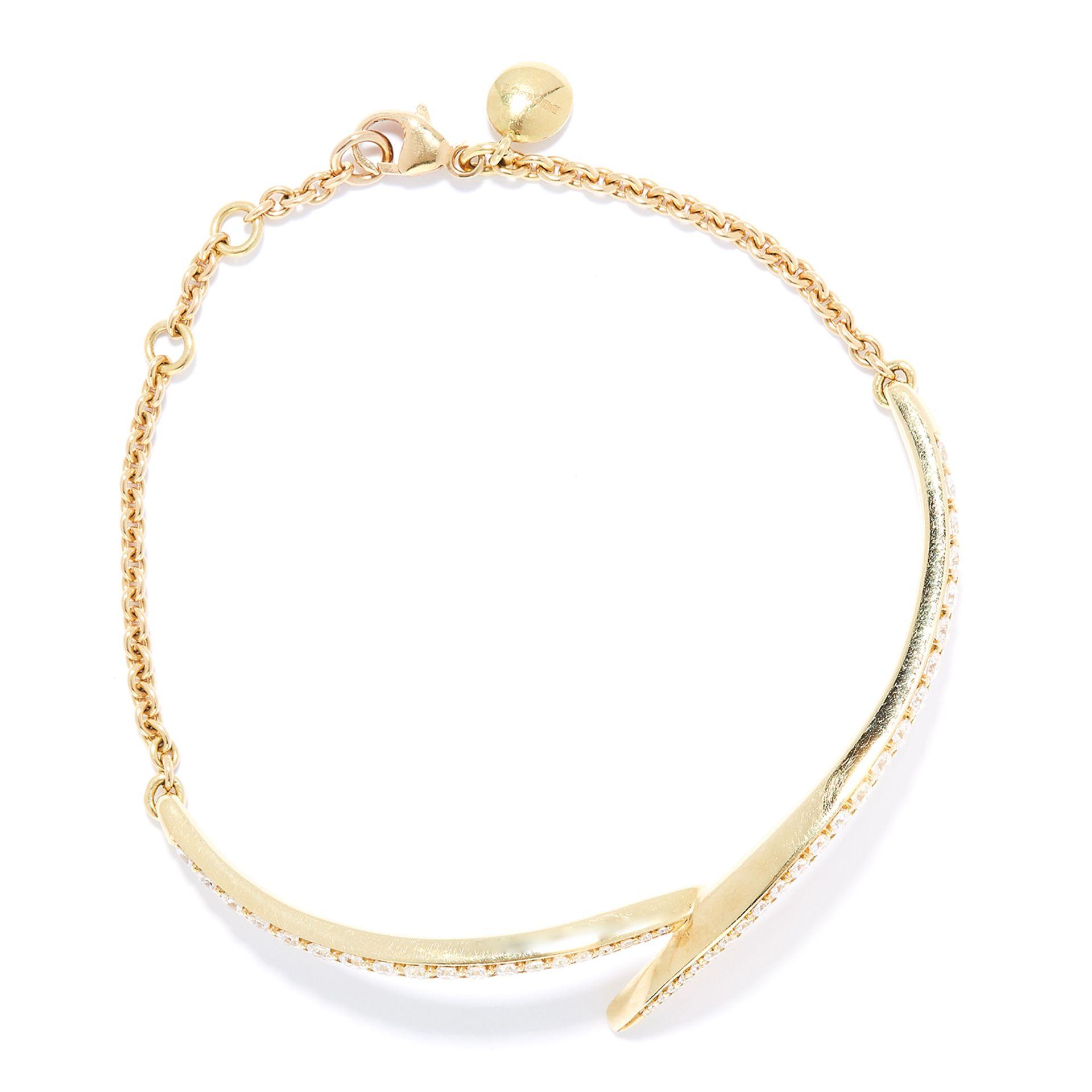 DIAMOND BRACELET, SEANE LEANE in 18ct yellow gold, set with a row of round cut diamonds in half - Bild 2 aus 2