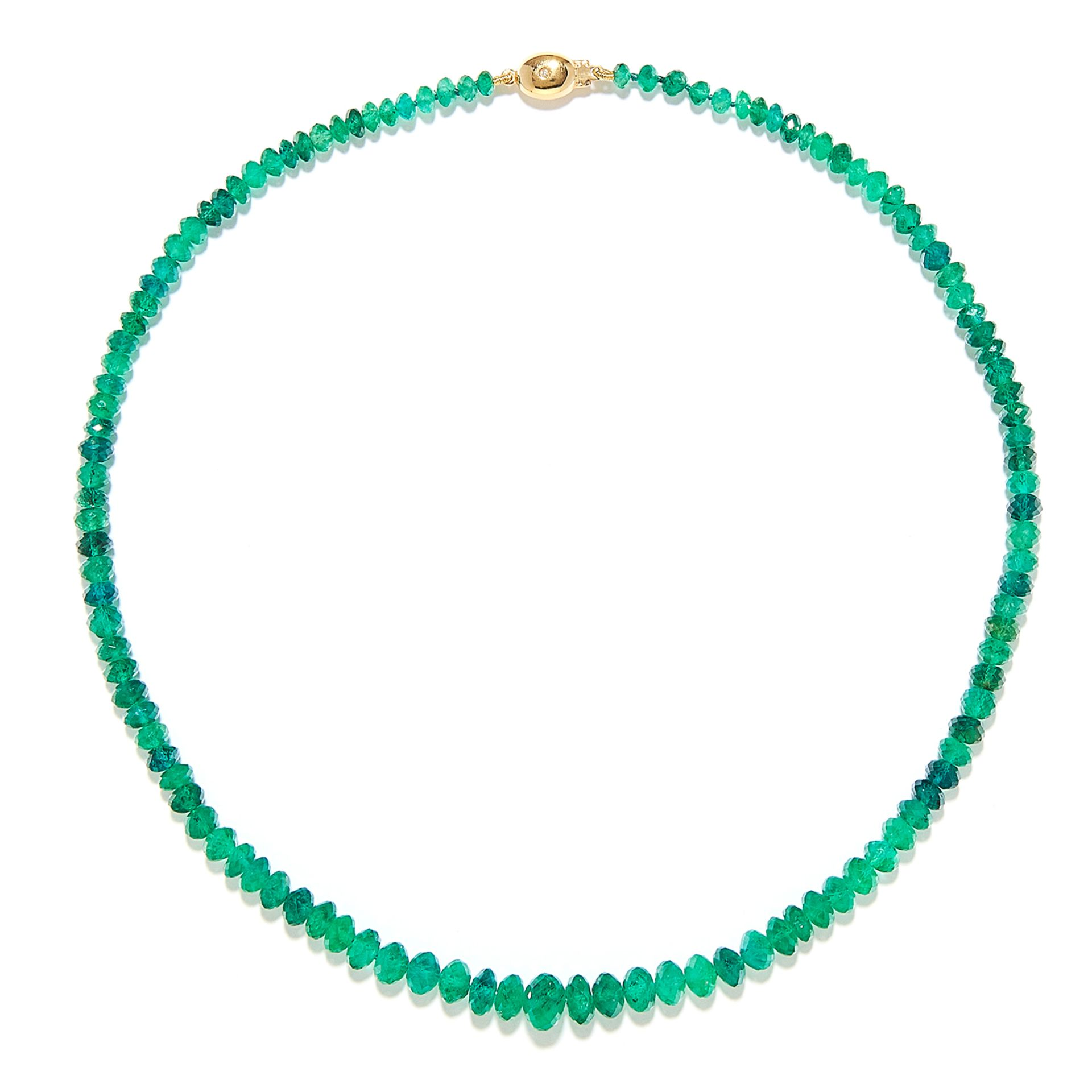 EMERALD BEAD AND DIAMOND NECKLACE in 18ct yellow gold, comprising a row of one hundred and sixteen