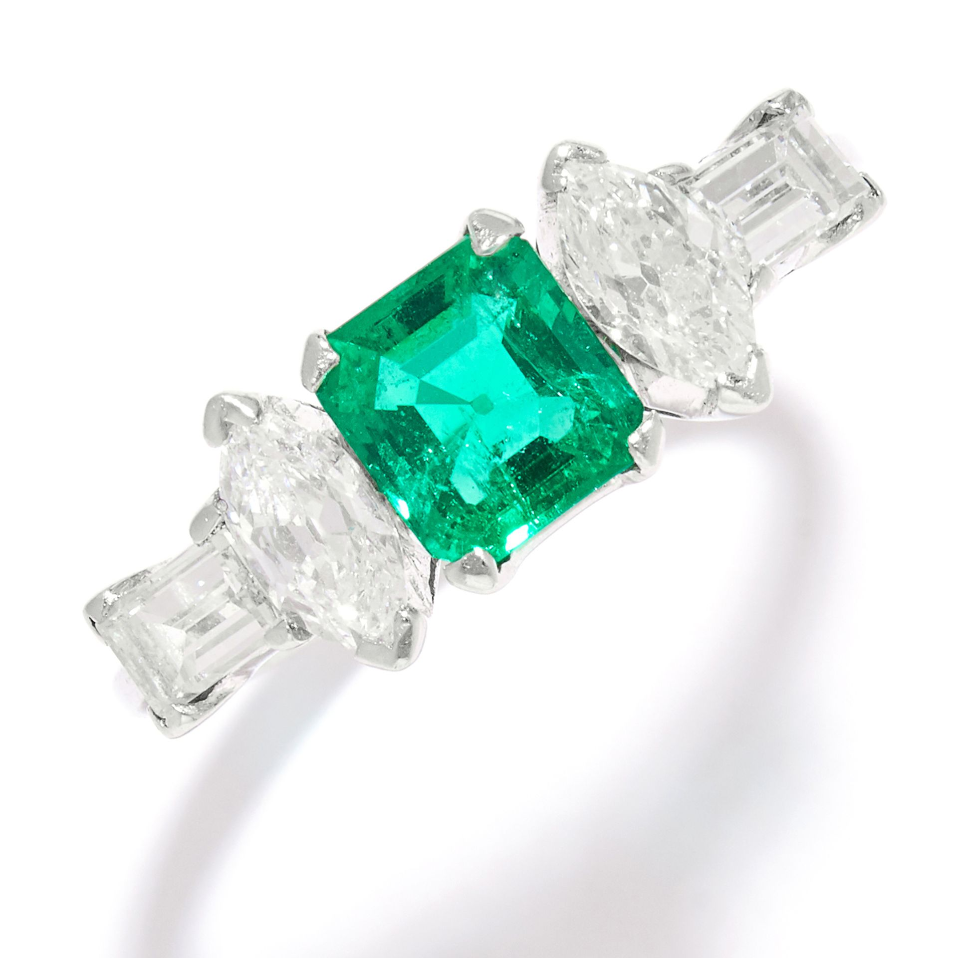 COLOMBIAN EMERALD AND DIAMOND RING in platinum, the step cut emerald of 1.0 carats between