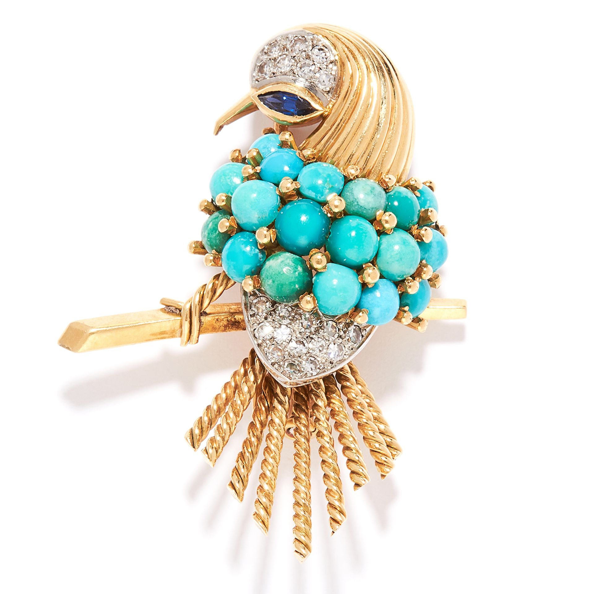 VINTAGE TURQUOISE, SAPPHIRE AND DIAMOND BIRD BROOCH, BOUCHERON in 18ct yellow gold, set with