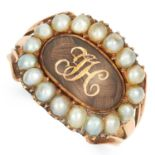 ANTIQUE HAIRWORK AND PEARL MOURNING RING CIRCA 1820 set with pearls and an oval panel of woven