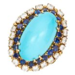 VINTAGE TURQUOISE, DIAMOND AND SAPPHIRE RING CIRCA 1970 set with an oval turquoise cabochon of 25.70