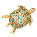 TURQUOISE AND RUBY TURTLE BROOCH, BOUCHERON set with cabochon turquoise and rubies, with articulated