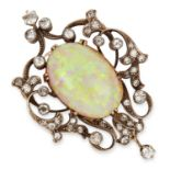 ANTIQUE OPAL AND DIAMOND PENDANT CIRCA 1870 set with an oval cabochon opal of 19.63 carats and old