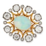 ANTIQUE OPAL AND DIAMOND BROOCH, set with a cabochon opal and approximately 3.50 carats of old cut