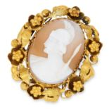 ANTIQUE CARVED CAMEO BROOCH depicting a Roman soldier, 4.1cm, 9.5g.