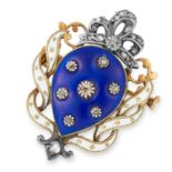 ANTIQUE DIAMOND AND ENAMEL BROOCH set with blue and white enamel and rose cut diamonds, 3cm, 7g.