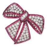 ANTIQUE DIAMOND AND RUBY BOW BROOCH, CIRCA 1900 set with old cut diamonds and step cut rubies,