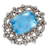 AQUAMARINE AND DIAMOND BROOCH set with an oval cushion cut aquamarine of approximately 30 carats