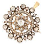 ANTIQUE DIAMOND PENDANT/BROOCH, set with approximately 2.50 carats of rose cut diamonds, 3.3cm, 20.