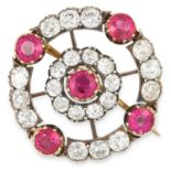 ANTIQUE RUBY AND DIAMOND BROOCH, set with approximately 4.30 carats of old cut diamonds and