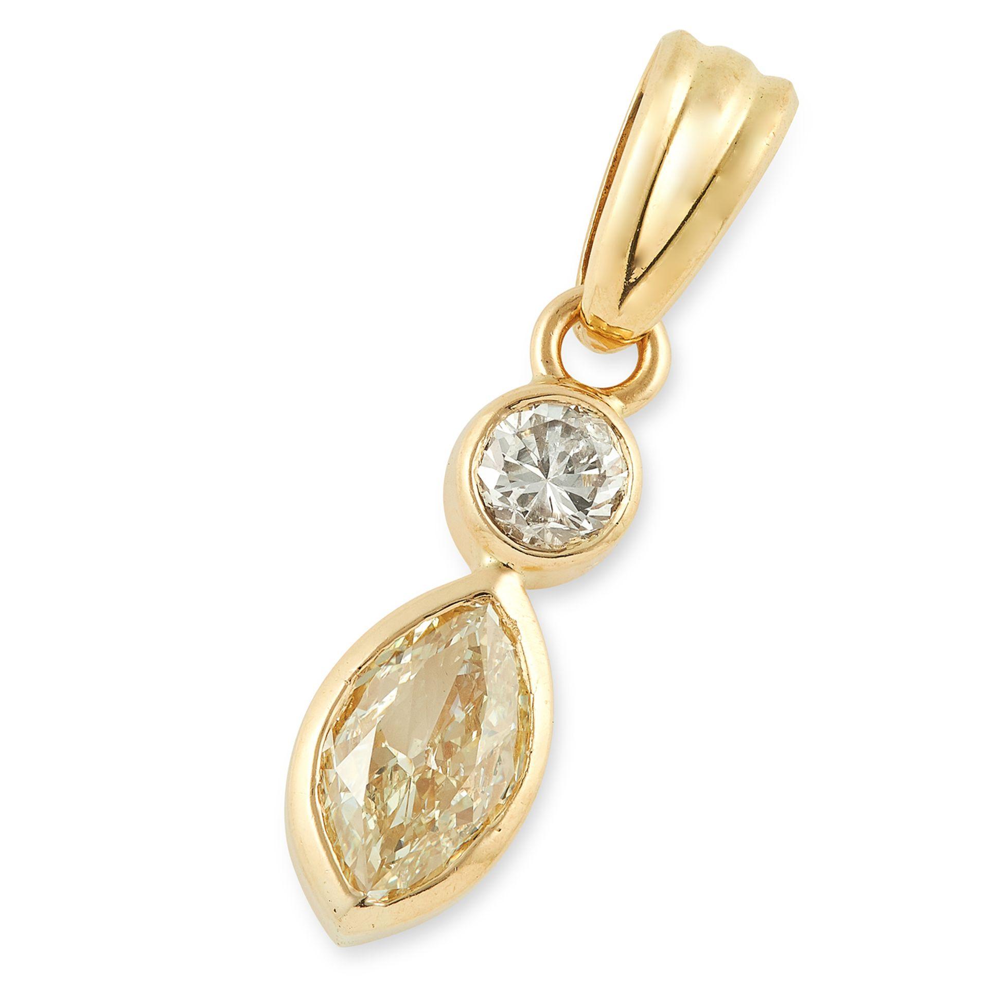 DIAMOND PENDANT set with a marquise cut yellow diamond and a round cut diamond, 2.7cm, 3g.