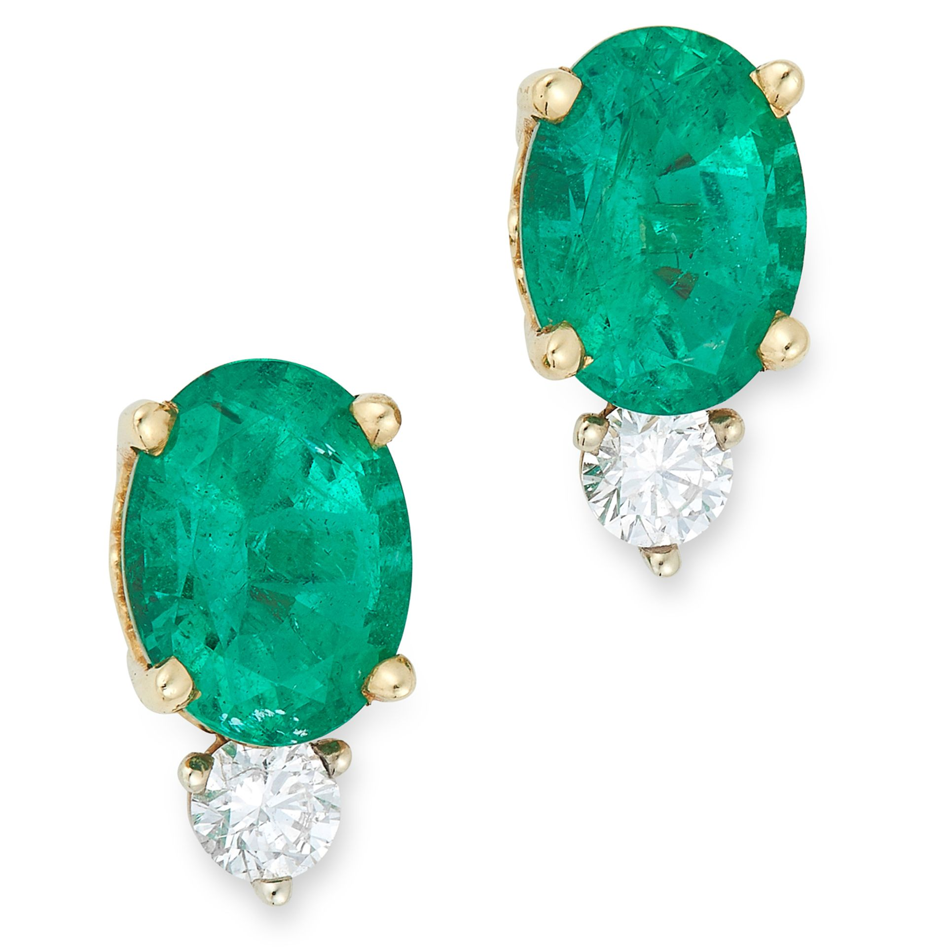 EMERALD AND DIAMOND STUD EARRINGS each set with a round cut diamond totalling approximately 0.10