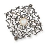 ANTIQUE NATURAL PEARL AND DIAMOND BROOCH comprising of a pearl in an open border set with old and
