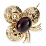 ANTIQUE GARNET AND HAIRWORK MOURNING BROOCH, 19TH CENTURY set with an oval cabochon garnet, hairwork