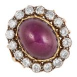 ANTIQUE STAR RUBY AND DIAMOND CLUSTER RING set with a cabochon star ruby in a border of round cut